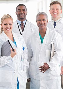 Group of doctors in white lab coats